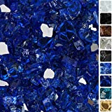 Celestial Fire Glass High Luster, 1/2' Reflective Tempered Fire Glass in Meridian Blue | 10 Pound Jar