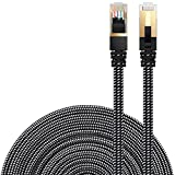 DanYee Cat 7 Ethernet Cable, Nylon Braided 10ft CAT7 High Speed Professional Gold Plated Plug STP Wires CAT 7 RJ45 Ethernet Cable 3ft 10ft 16ft 26ft 33ft 50ft 66ft 100ft (Black 10ft)