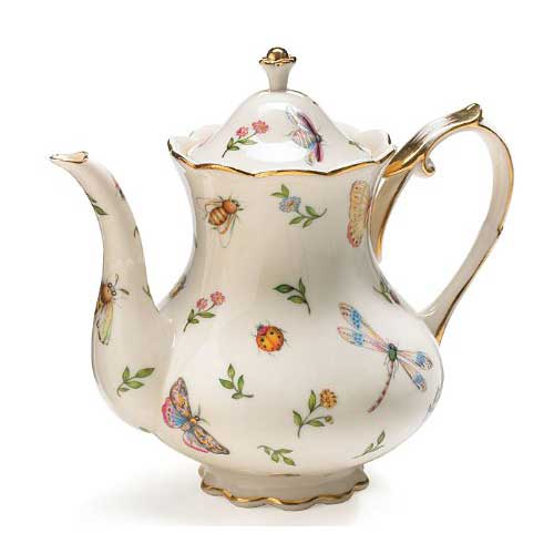 Best Teapots For Keeping Tea Hot 9. Morning Meadow Porcelain Butterfly & Dragonfly Teapot Trimmed In Gold