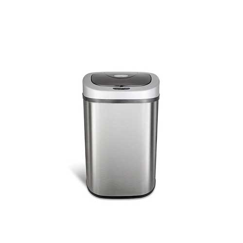 Best Kitchen Trash Cans 3. Ninestars DZT-80-4 Automatic Touchless Motion Sensor Oval Trash Can, 21 Gal. 80 L, Stainless Steel