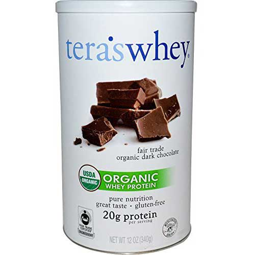 Best Whey Protein Organic 1. Tera's Whey Grass Fed Organic Whey Protein, Dark Chocolate, 12 Ounce