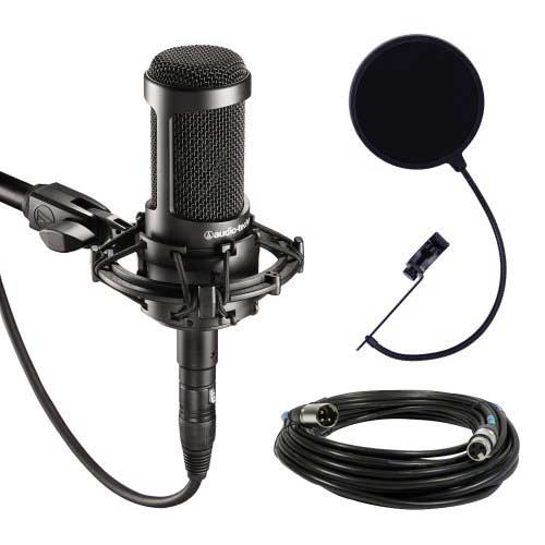 Best Mic for Vocals Under 200 7. Audio-Technica AT2035 Large Diaphragm Studio Condenser Microphone Bundle with Shock Mount, Pop Filter, and XLR Cable