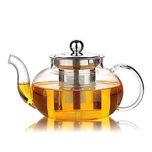 Best Teapots For Keeping Tea Hot 3. Hiware Good Glass Teapot with Stainless Steel Infuser & Lid