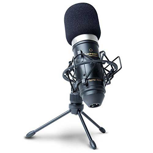 Best Mic for Vocals Under 200 1. Marantz Professional MPM-1000 | Cardioid Condenser Microphone with Windscreen, Shock Mount & Tripod Stand (18mm/XLR Out)