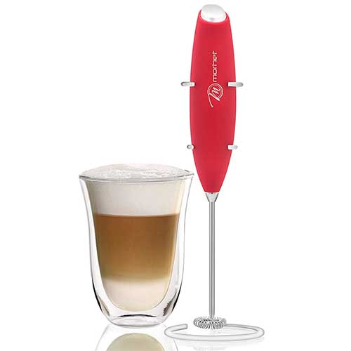 Best Milk Frother Handheld 7. M MORHET Handheld Milk Frother With Stand