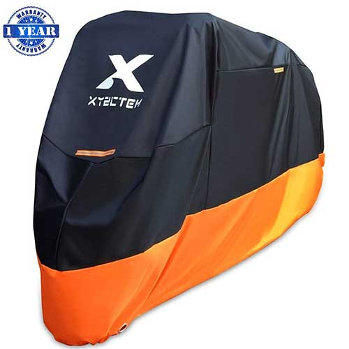 Best Motorcycle Covers For Outside Storage 3. XYZCTEM Motorcycle Cover – All Season Waterproof Outdoor Protection – Precision Fit for 108 inch Tour Bikes, Choppers and Cruisers