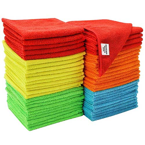 Best Microfiber Towels For Drying Car 6. S & T Bulk Microfiber Kitchen, House, Car Cleaning Cloths - 50 Pack