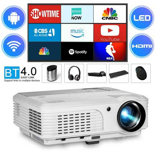 Best Projectors for Business Presentations 3. 2018 LCD LED 3600 Lumen Android Bluetooth Video Projector Wxga Support Wireless Airplay Screen Cast with HDMI, USB, Composite Video, VGA Multimedia WiFi Projector HD 1080P for Home Cinema Outdoor Movie