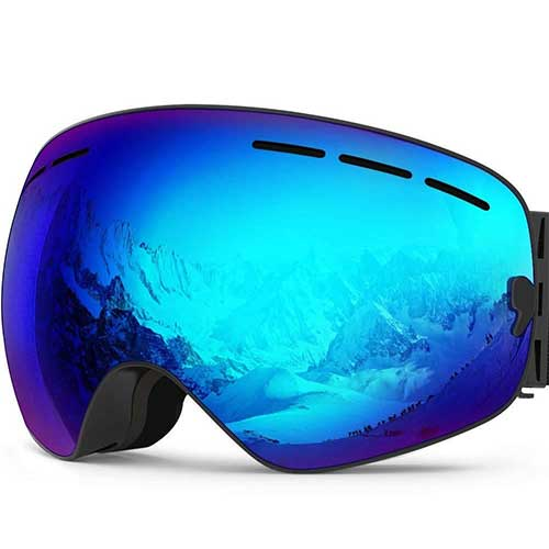 BEST BUDGET SKI GOGGLES 3. Zionor X Ski Snowboard Snow Goggles OTG Design for Men Women with Spherical Detachable Lens UV Protection Anti-fog