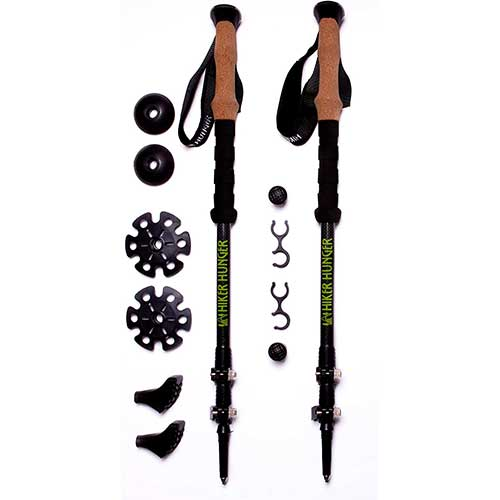 Best Trekking Poles for Women 7. Hiker Hunger 100% Carbon Fiber Trekking Poles