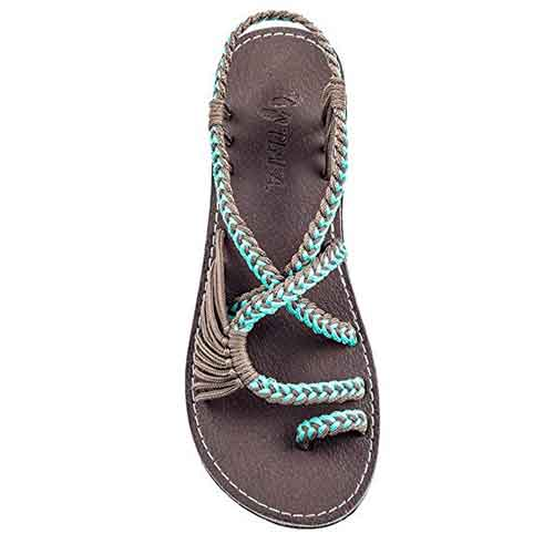 Best Woman's Walking Sandals for Travel 2. Plaka Flat Sandals for Women Palm Leaf