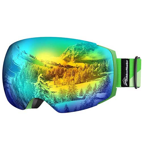 BEST BUDGET SKI GOGGLES 8. OutdoorMaster Ski Goggles PRO - Frameless, Interchangeable Lens 100% UV400 Protection Snow Goggles Men & Women