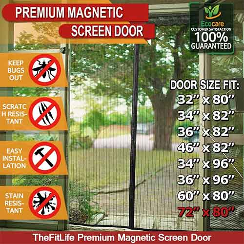Best Magnetic Screen Doors 2. TheFitLife Double Door Magnetic Screen