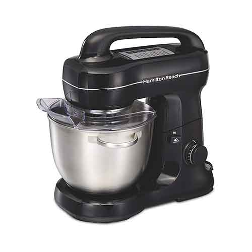 BEST STAND MIXERS UNDER 100 2. Hamilton Beach 63391 Stand Mixer 7 Speeds with Whisk, Dough Hook, Flat Beater Attachments, 4 quart, Black