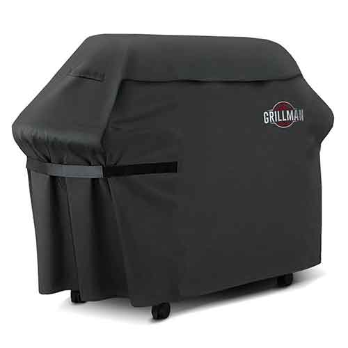 BEST WATERPROOF GRILL COVERS 4. Grillman Premium BBQ Grill Cover, Heavy-Duty Gas Grill Cover For Weber, Brinkmann, Char Broil etc. Rip-Proof, UV & Water-Resistant