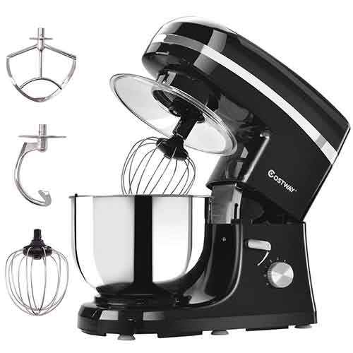 BEST STAND MIXERS UNDER 100 6. Costway Tilt-head Stand Mixer 5.3Qt 6-Speed 120V/800W Electric Food Mixer with Mixer Blade, Dough Hook, Whisk, Splash Guard, Stainless Steel Bowl(Black)