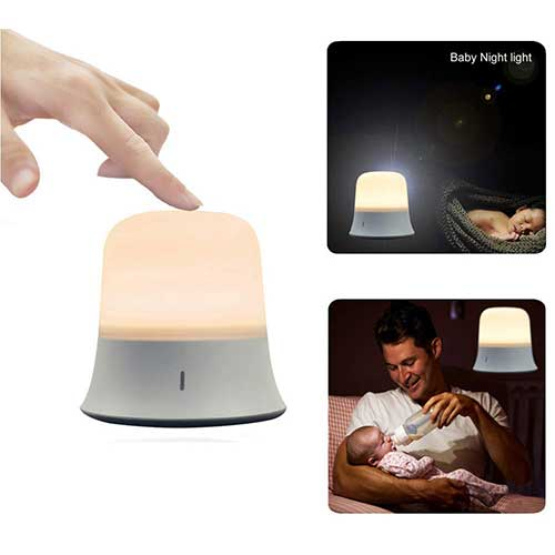 Best Night Lights for Baby 4. Portable LED Night Light with Sensor Touch Control Adjustable Brightness Color and Rechargeable Battery