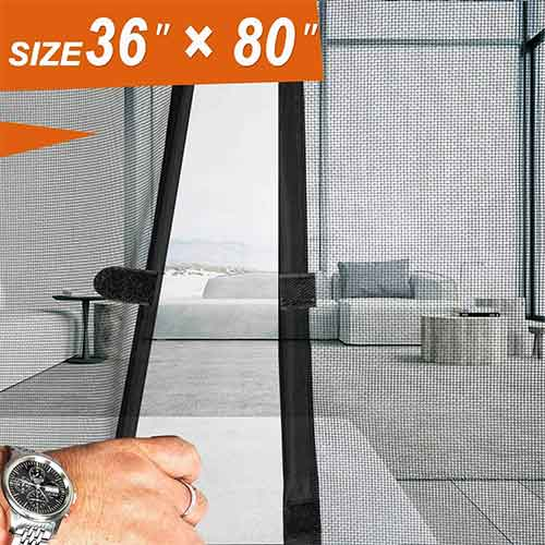 Best Magnetic Screen Doors 1. French Screen Doors, Advanced MAGZO Magnetic Heavy Duty Mesh Fit Your Door Size 34W X 79H inch with Full Frame Magic Sticker Privacy Insect Fly Screen Mesh(36 X 80 inch, Gray)