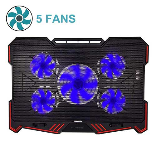 Best Laptop Cooling Pads for Gaming​ 9. Laptop Cooling Pad BUJIAN 5 Ultra Quiet Fans and Red Led Lights