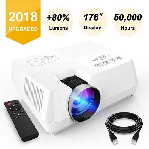 Best Mini Projectors under 100 4. Visoud Mini Portable Projector, 2200 lumen Full HD LED Video Projector Compatible with Fire TV Stick, HDMI, VGA, USB, AV, SD for Home Theater Entertainment