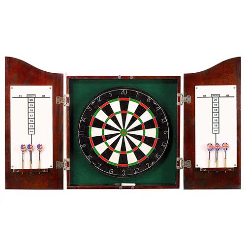 Best Dart Board Cabinets 1. Hathaway Centerpoint Solid Wood Dartboard and Cabinet Set