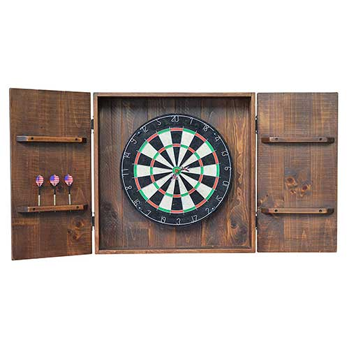Best Dart Board Cabinets 5. In the Garden and More Country Rustic Wood and Iron Handcrafted Dart Board Wall Cabinet