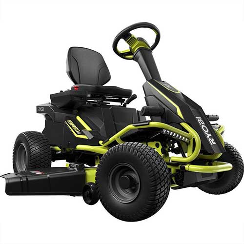 Best Riding Lawn Mower for Rough Terrain 7. Ryobi 38 inches 100 Ah Battery Electric Rear Engine Riding Lawn Mower RY48111