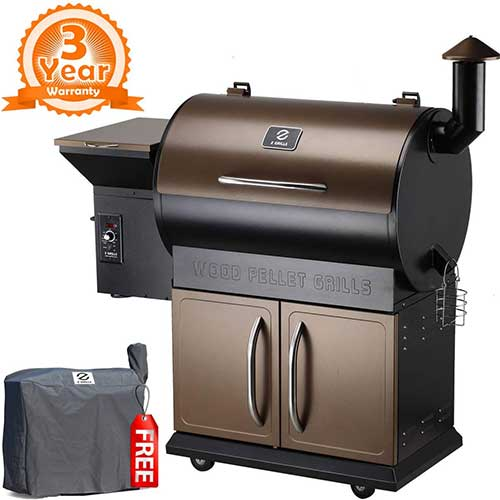 Best Smoker Grill Combo 5. Z Grills ZPG-700D 2018 Upgrade Wood Pellet Smoker, 8 in 1 BBQ Auto Temperature Control, 700 sq inch Cooking Area, Bronze and Black