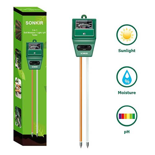 Best Moisture Meters for Plants 1. Sonkir Soil pH Meter, MS02 3-in-1 Soil Moisture/Light/pH Tester Gardening Tool Kits