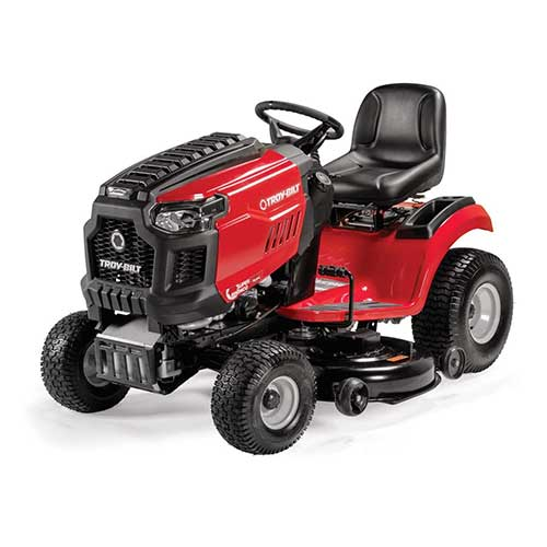Best Riding Lawn Mower for Rough Terrain 1. Troy-Bilt Super Bronco Riding Lawn Mower with 42-Inch Deck and 547cc Engine
