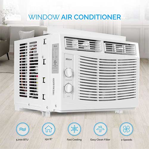 Quietest Window Air Conditioners 10. DELLA 5,000 BTU Window-Mounted Air Conditioner