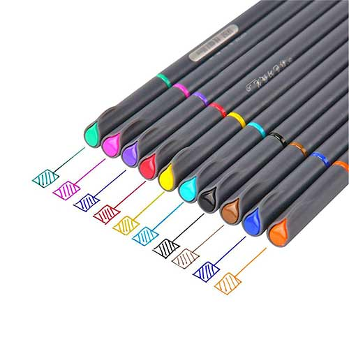 Best Colored Pens for Journaling 8. Fineliner Color Pen Set,0.38mm Colored Fine Line Point,Assorted Colors,10-Count