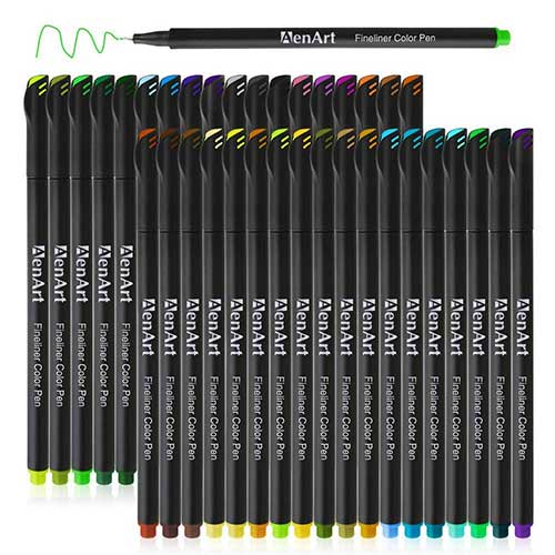 Best Colored Pens for Journaling 10. Fineliner Drawing Pens 36 Colored Sketch Fine Point Notebook Pen Set