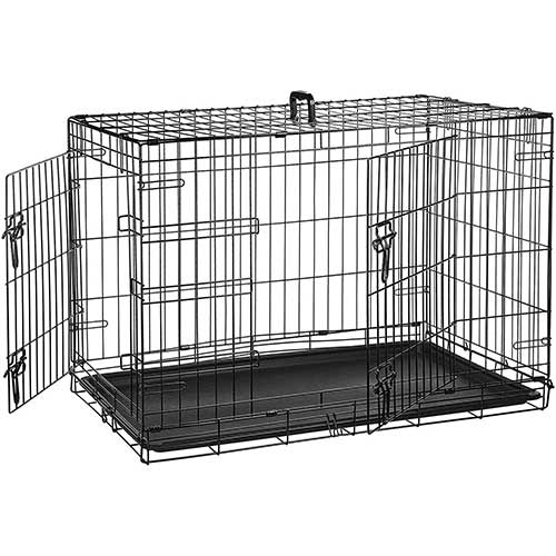 Best Dog Crates for Separation Anxiety 1. AmazonBasics Single Door & Double Door Folding Metal Dog Crate