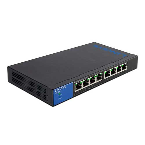 Best Poes Switches for Ip Cameras 9. Linksys Business LGS108P 8-Port Desktop Gigabit PoE+ Unmanaged Switch I Metal Enclosure