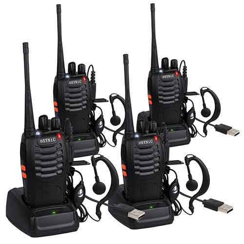 Best Two Way Radios for Mountains 3. ESYNIC 4 pcs Rechargeable Walkie Talkies Long Range Two Way Radio UHF 400-470MHz