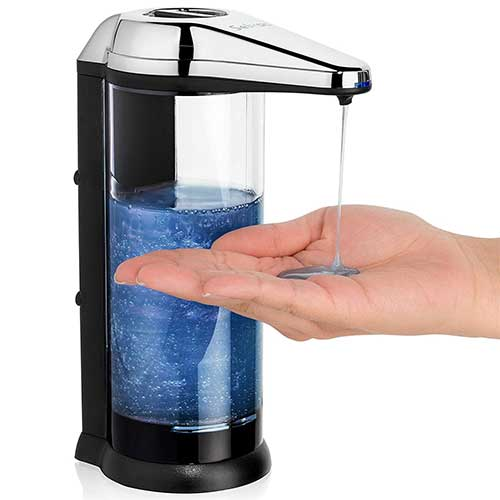 Best Automatic Soap Dispensers 4. Touchless soap Dispenser - ANTI-LEAKAGE Soap Dispenser-Accurate Infrared Motion- Rusting Free- Enjoy Hands-free Soap Dispenser for up To a Year before Having to Change Batteries-Back Battery Compartment