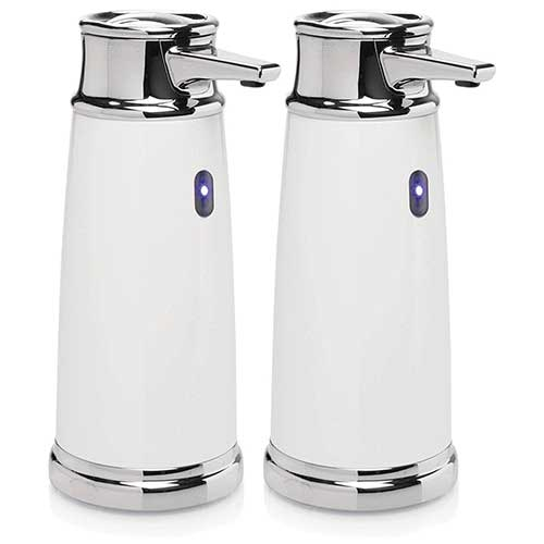 Best Automatic Soap Dispensers 8. mDesign Decorative Hands-Free, Touchless Automatic Hand Soap Dispenser Pump with Infrared Motion Detector Activated Sensor Light for Kitchen and Bathroom Sinks, Countertops - 2 Pack - White/Chrome