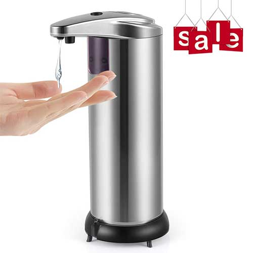 Best Automatic Soap Dispensers 2. Cakie Soap Dispenser Infrared Motion Stainless Steel Touchless Automatic Shampoo Box with Waterproof Base & IR Sensor for Kitchen, Bathroom, Hotel, and Restaurant, Large, Silvery