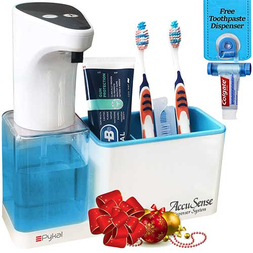 Best Automatic Soap Dispensers 3. Pykal 2-in-1 Automatic Soap Dispenser Touchless & Organizer AccuSense Dispense Technology 15 oz. | 1 YR Warranty & Toothpaste Squeezer Included | Luxury Gift Box for HIM or HER for Christmas