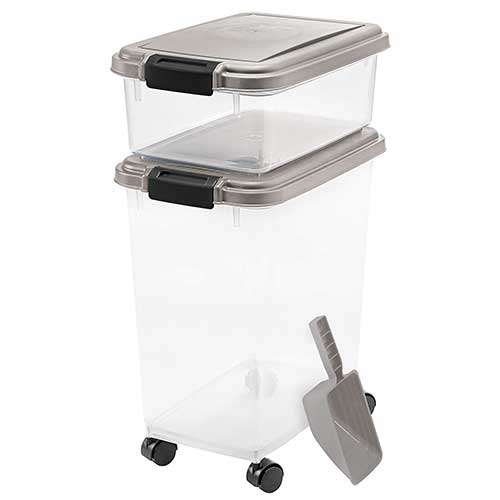 Best Dog Food Storage Container 1. IRIS 3-Piece Airtight Pet Food Container Combo