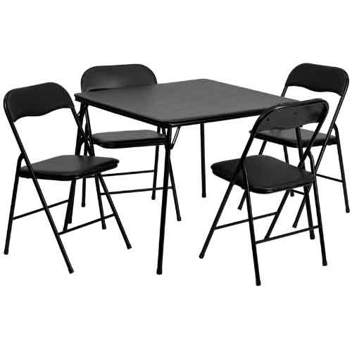 Best Folding Dining Tables 3. Flash Furniture 5 Piece Black Folding Card Table and Chair Set