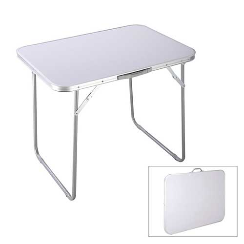 Best Folding Dining Tables 1. Goplus Portable Camping Table 4-Person Folding Aluminum Picnic Party Dining Desk in/Outdoor