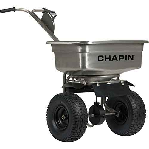 Best Commercial Walk Behind Salt Spreaders 5. NAMR-82500B* Chapin Walk-Behind Stainless Steel Spreader — 100-Lb. Capacity
