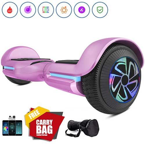 Best Hoverboards for Kids 6. Spadger SS-1Jr 6.5'' Hoverboard, BLE Speaker & LED Lights APP Enabled, UL 2272 Certified Self Balancing Scooter [Pink]