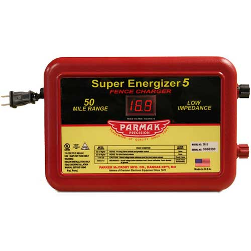 3. Parmak Super Energizer 5 Low Impedance 110/120 Volt 50 Mile Range Electric Fence Controller SE5