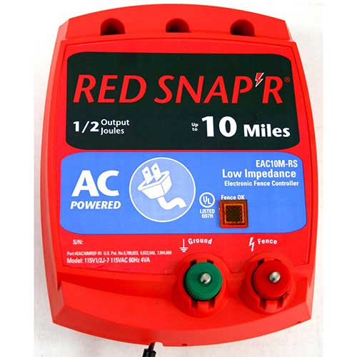 7. Red Snap'r EAC10M-RS 10-Mile AC Low Impedance Fence Charger