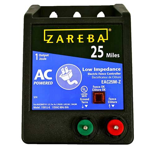 1. Zareba EAC25MZ 25 Miles AC Low Impedance Electric Fence Charger