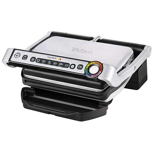 10. T-fal GC70 OptiGrill Electric Grill, Indoor Grill, Removable Nonstick Dishwasher Safe Plates, 4 Servings, Silver