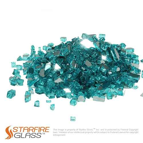 3. Starfire Glass 10-Pound Fire Glass 1/2-Inch Caribbean Blue Reflective